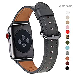 Apple Watch Band 38mm, WFEAGL Retro Top Grain Genuine Leather Band Replacement Strap with Stainless Steel Clasp for iWatch Series 2,Series 1,Sport, Edition (38mm Dark Space Grey Band)