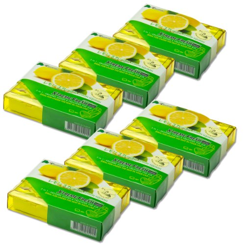 Pack of 6 TreeFrog Xtreme Fresh Mini Japanese Under-The-Car Natural Air Freshener (Lemon Squash Scented)
