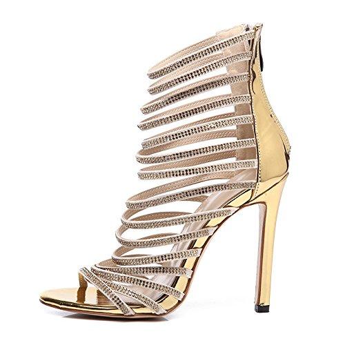 ZHUDJ Roma Diamond Sandalias De Verano Zapatos Stilettos Rhinestone Sandalias Zapatos Diamond Club Boca De Pescado De Roma,Golden,36 Thirty-six Golden