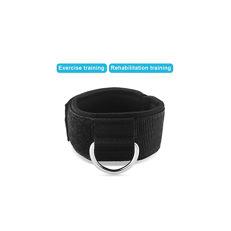 Pingmall Ankle Strap Neoprene Padded Fitness Wrist Cuff with D Ring High Strength Exercises Belt Gym Pulley Strap for Cable Machines