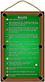 "SJT ENTERPRISES, INC. Billiards/Pool Table Rules 10"" x 16"" Wood Plaque Sign (SJT28360)"