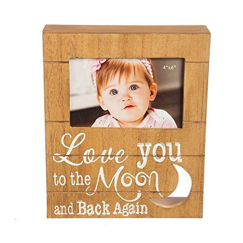 (B. Boutique Love You to the Moon Wooden Picture Frame Plaque)