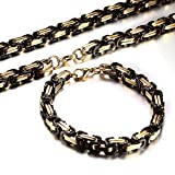 Men's Stainless Steel Mechanic Chunky Byzantine Chain Bracelet and Necklace Jewelry Set, 9""
