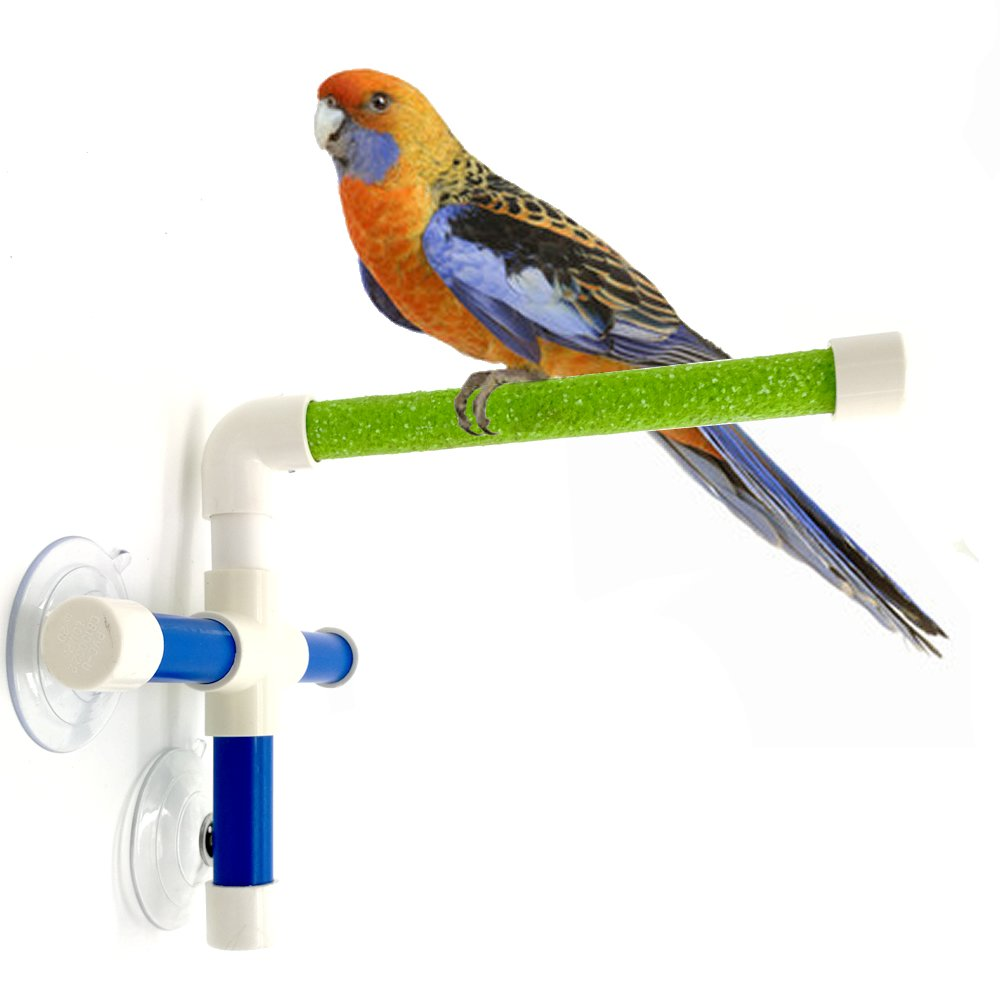 Mrlipet Portable Suction Cup Bird Window and Shower Perch Toy for Parrot Macaw Cockatoo African Greys Budgies Parakeet Bath Perch Creative Fold Away Stick Scrub Wooden Stand Scrubbing Medium To Large