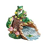 Downspout Cover Extension Whimsical Frog Family on Log Decorative Garden Ornament