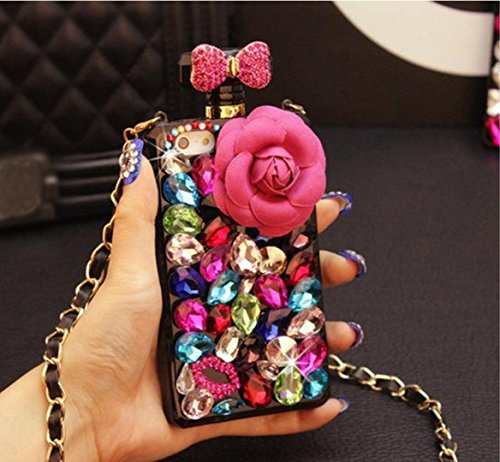 Jesiya for iPhone Xs Max Perfume Bottle Case, Handmade Luxury Elegant Bling 3D Flower Bow Lip Diamond Crystal Fitted Case for iPhone Xs Max