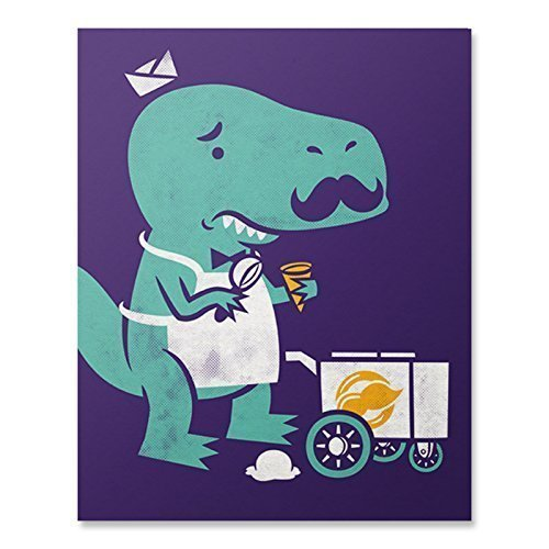 T-Rex Dinosaur Art Print Tyrannosaurus Trex Dino Wall Poster Funny Ice Cream Home Decor