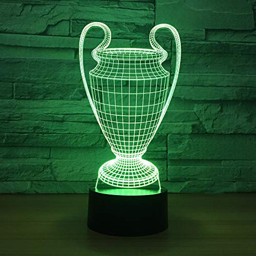 Football Cup Trophy 3D Illusion Remote Control Lamp s Changing Touch Button,LED Desk Table Night Light Lamp