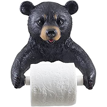 Decorative Black Bear Toilet Paper Holder Bathroom Wall Decoration For Rustic Cabin And Hunting Lodge Decor Sculptures As Unique Housewarming Gifts