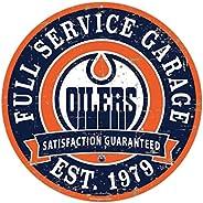 "Edmonton Oilers 22"" Round PVC Distressed Garage Wall"