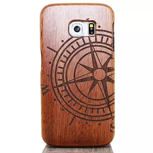 Vandot 1X Genuine Samsung Galaxy S6 caso Tree azteca árbol híbrido retro de madera cubierta de la caja de bambú premium Matt transparente clara trasera dura de la contraportada del patrón de lujo Patt S6-18
