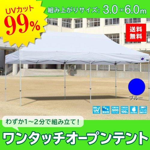 E-ZUP イージーアップ イージーアップテント 組み立てテント デラックス(アルミタイプ) [DXA60-17BL] 3.0m×6.0m 天幕色:青 ブルー 防水 防炎 紫外線カット99% B07BT2M1NJ