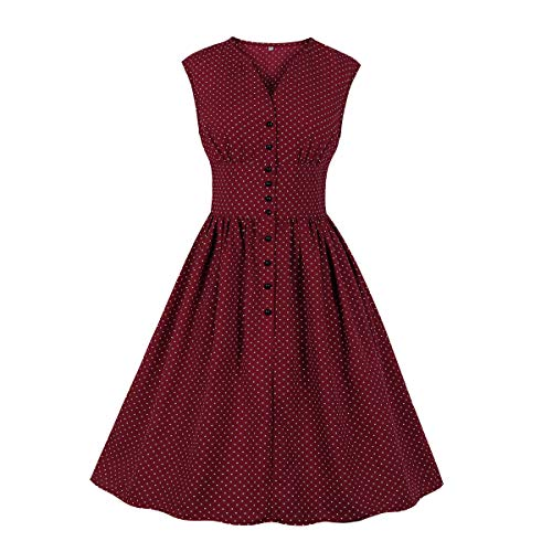 Wellwits Women's Retro Polka Dots Button Down 1950s Vintage Dress Wine 3XL - Full Skirt Dress