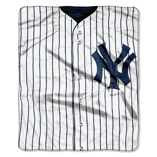 (New York Yankees 50''x60'' Royal Plush Raschel Throw Blanket - Jersey Design)