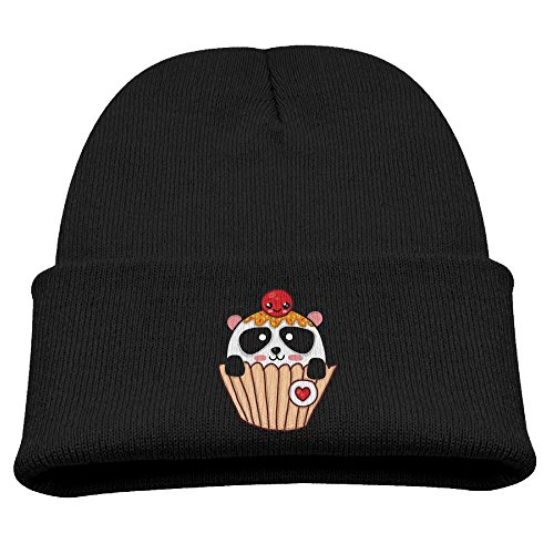 Cupcake Costumes For Kids Pattern (Jukaifaquj Panda Cupcake Children Girls&Boys Winter Warm and Comfortabl Cute Pattern Knitting Hat Beanie Skull Cap Black)