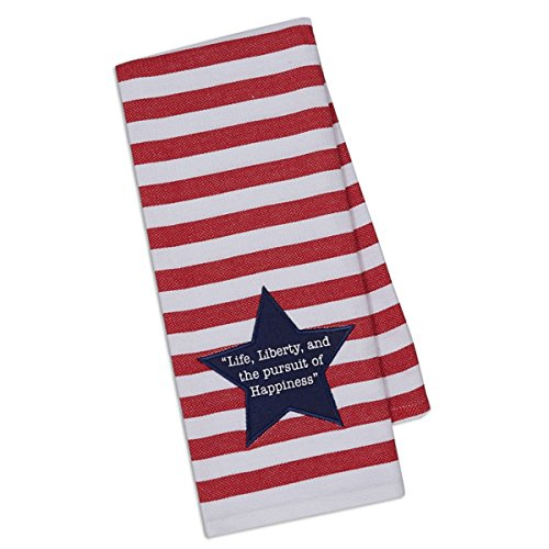 Dii Design Imports Liberty Star Embellished Kitchen Towel Blue Star Red and White Striped Dishtowel with Embellished Liberty Star 18 x 28