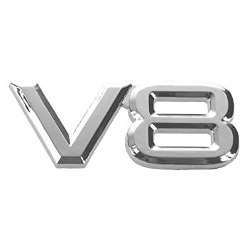 3D Silver Auto Motor V8 Car Rear Emblem Decal Badge Sticker 7.5x3.5cm R TOOGOO