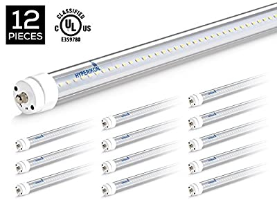 Hyperikon T8 T10 T12 8ft LED Tube Light, 36W (75W Equiv.), Dual-End Powered, Ballast Bypass, Shatterproof, Fluorescent Replacement, 6000k, Clear, 4400 Lumens, Workshop, Warehouse, Garage - 12 Pack