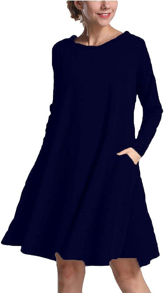 Soatrld Women's Long Sleeve T Shirt Dresses Loose Casual Plain Swing Fall Tunic Dress with Pockets