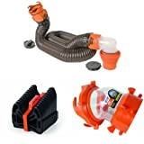Camco 39761-X Rhino Flex 15-Feet RV Sewer Hose Kit with Swivel Fittings + Camco 43041-X RV 15' Sidewinder Plastic Sewer Hose Support + Camco 39847 Rhino Flex Clear 45-Degree RV Sewer Hose Swivel Fitting Bundle