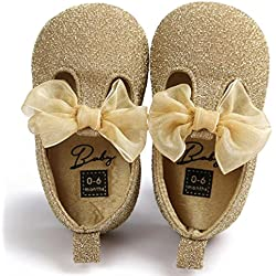 Voberry Toddler Baby Girls Boy's Sneaker Moccasins Anti-slip Soft Sole Bow Shoes (0~6Month, Gold)