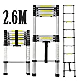 CDC 2.6M Telescopic Ladder Household Folding Stair Ladder Aluminium Fodable Extendable Extension Steps Ladder - Max. Loading of 150kg