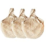 Ahyuan Ecology Reusable Cotton Mesh Grocery Bags Cotton String Bags Net Shopping Bags Mesh Bags (Beige)