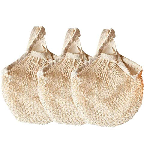 Ahyuan Ecology Reusable Cotton Mesh Grocery Bags Cotton String Bags Net Shopping Bags Mesh Bags (Beige) ()