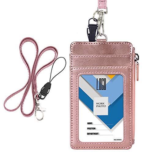 Badge Holder with Zip, Wisdompro Double Sided PU Leather ID Badge Card Holder Wallet Case with 5 Card Slots, 1 Side Zipper Pocket and 20 Inch PU Neck Lanyard/Strap - Rose Gold (Vertical)