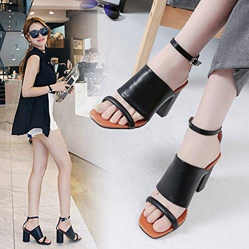 Fines toe High Oblongs Épais Sandales En Fixations De Shoeshaoge Eu38 heeled Dew Femme Noir Avec Xg74Yq