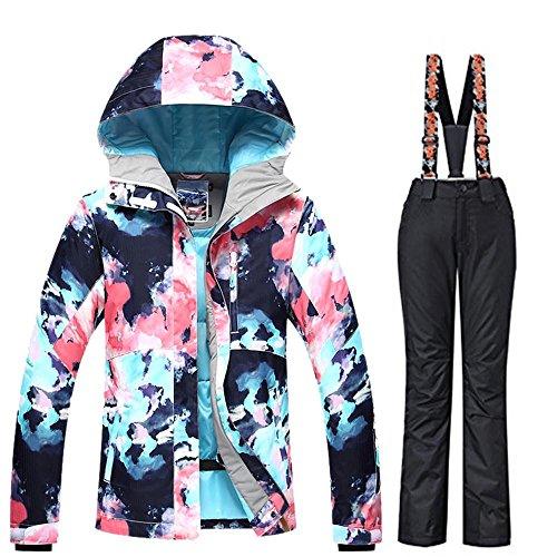 - RIUIYELE Women's Ski Bib Suit Jacket Waterproof Snowboard Colorful Printed Ski Jacket and Pants Set