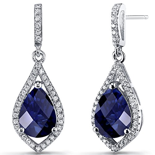 Created Blue Sapphire Tear Drop Dangle Earrings Sterling Silver 5 Carats by Peora