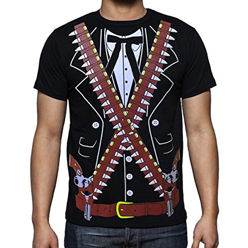 Viva Mexico Men's Mariachi Pistolero Bandido T-Shirt XX-Large Black ()