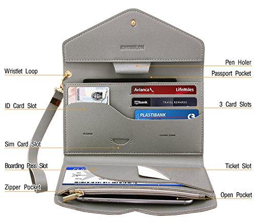 Krosslon Womens Travel Passport Holder Rfid Tri-fold Wallet Document Organizer Bag with Wristlet, 6# Quartz Grey
