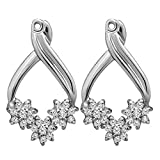 1/2 ct. Cubic Zirconia Flower Earring Jackets in Sterling Silver (0.51 ct. twt.)