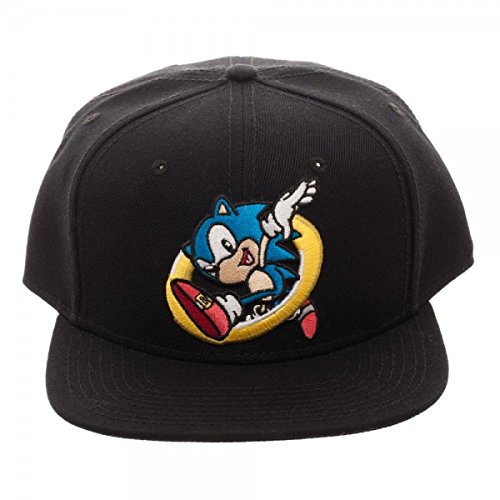 777103b0368 Amazon.com  Sonic the Hedgehog Ring Jump Black Snapback Cap ...