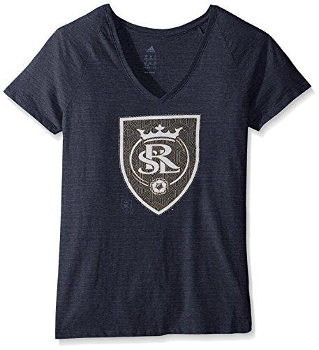 MLS Real Salt Lake Women's Liquid Hexagon Tri-blend V-Neck Tee, X-Large, - Real Tri Women