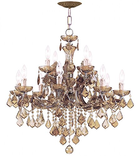 Antique Brass / Golden Teak Hand Polished Maria Theresa 12 Light Candle Style Crystal - Ab Mwp Gt Crystal