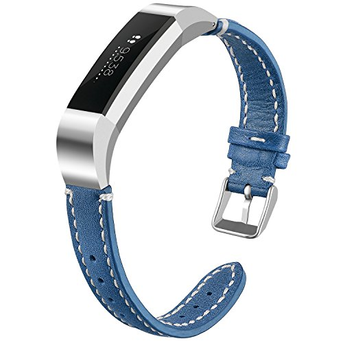 iHillon for Fitbit Alta (HR) Bands, Classic Soft Genuine Leather Strap for Fitbit Alta/Alta Hr Women Men Wristband, Blue