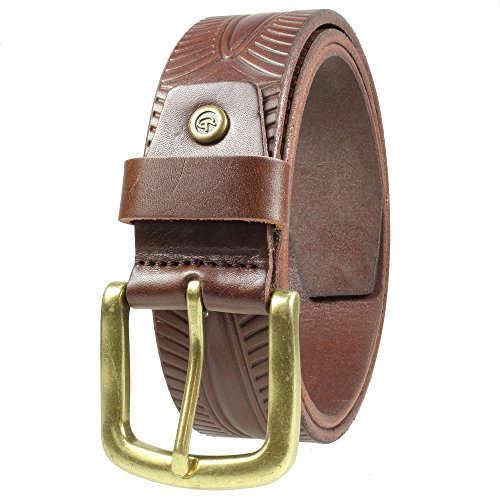 Gelante Mens Leather Belt - One Piece Top Grain Thick Heavy Duty 38008-Brown-L