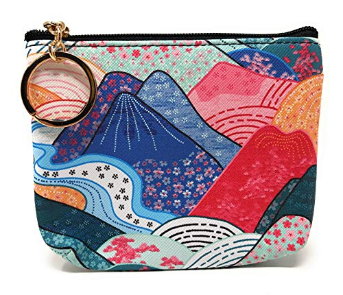 Value Arts Japanese Kimono Colorful Mountains Coin Purse Pouch with Key Ring