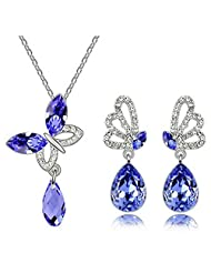 Fancy Fashion Jewelry Set Austria Crystal Butterfly Pendant Necklace Earrings- Lotus Purple Jm2185