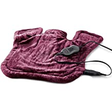 """Sunbeam Renue Extra-Large Micromink Tension Relief Neck and Shoulder Heating Wrap, 4 Heat Settings, Moist/Dry Heat, Magnetic Closure, 25"""" x 25"""", Burgundy"""