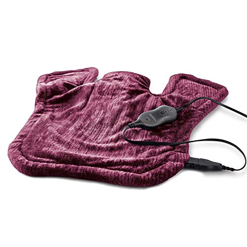 (Sunbeam Heating Pad for Neck & Shoulder Pain Relief | XL Renue, 4 Heat Settings with Auto-Shutoff | Burgundy, 25-Inch x 25-Inch)