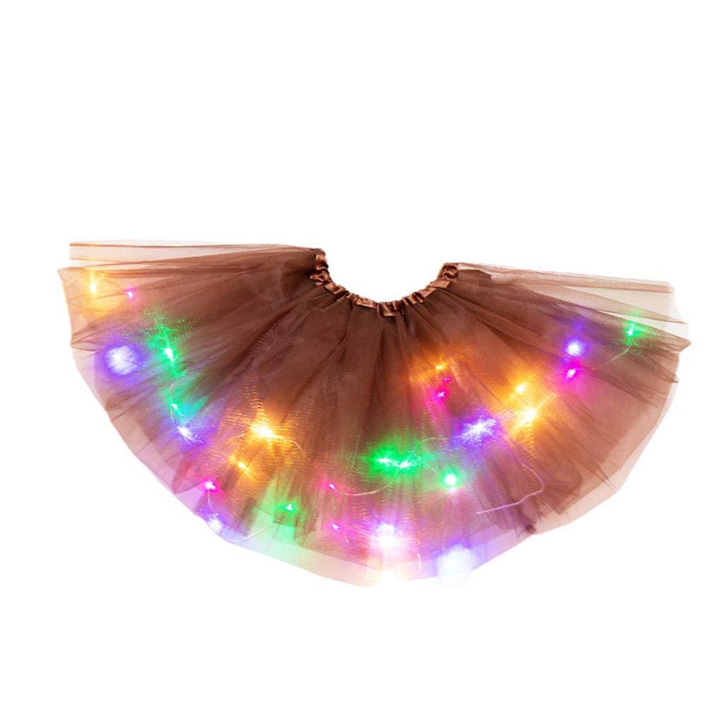 YWLINK Tut/ú De Ni/ñA De 2-8 A/ñOs Falda De Malla De Luz LED Falda De Baile Vestido De Princesa Fiesta De Carnaval Disfraz De Rendimiento Grupal Fiesta De Cumplea/ñOs Bautismo