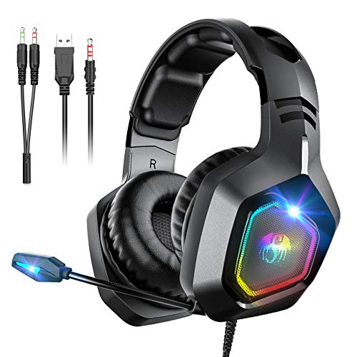 Gaming Headsets for PS4 Snoky, Over Ear Headphones with Noise Canceling Microphone RGB Light and Stereo Surround Sound, Compatible with PC, Xbox One, Laptop