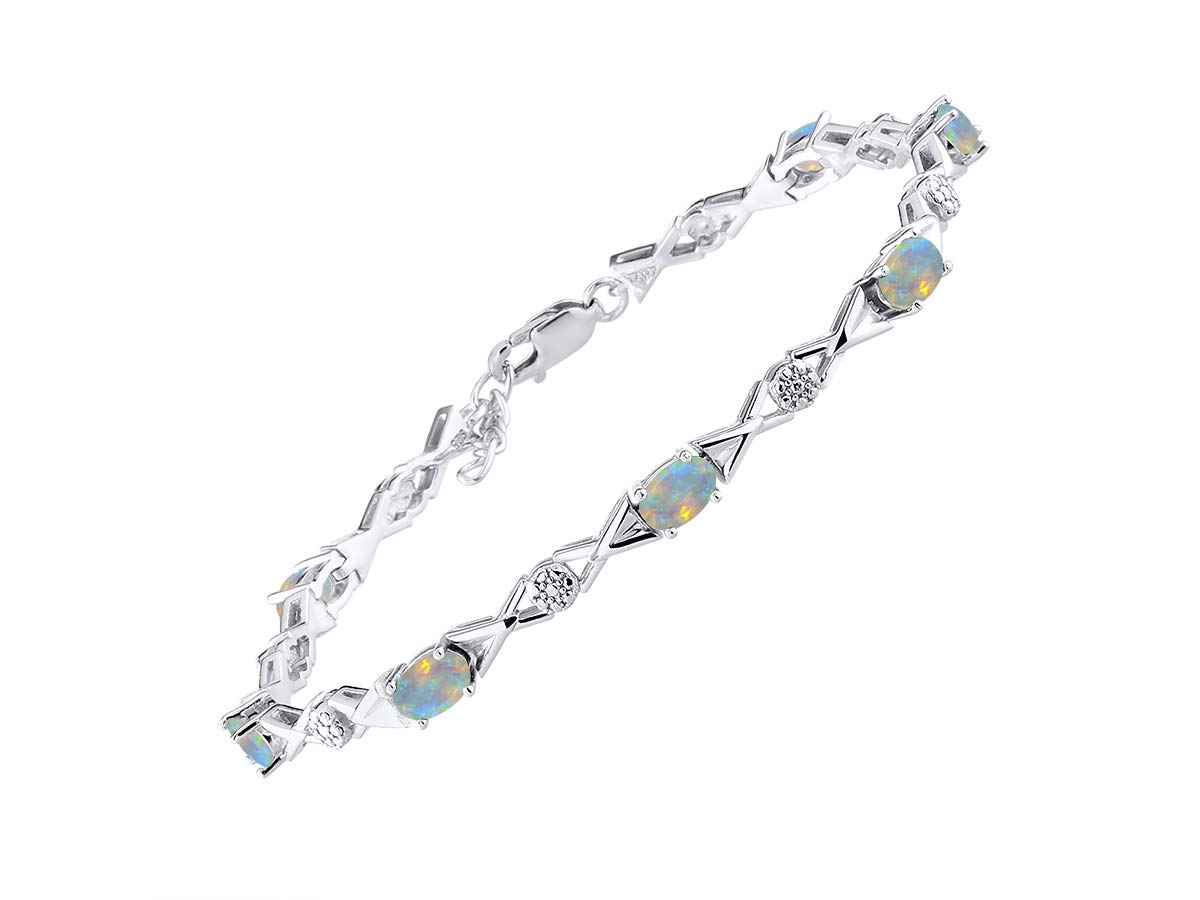 Stunning Exotic Ethiopian Opal & Diamond XOXO Hugs & Kisses Tennis Bracelet Set in Sterling Silver - Adjustable to fit 7'' - 8'' Wrist by Rylos