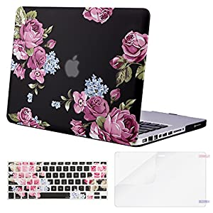 Mosiso Plastic Pattern Hard Case with Keyboard Cover with Screen Protector Only for Old MacBook Pro 13 Inch with CD-ROM (Model: A1278, Version Early 2012/2011/2010/2009/2008), Peony