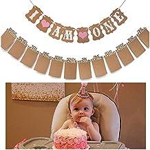 """Bebé Primer Cumpleaños Decoraciones Banner """"I Am One y 1–12meses pancarta Photo cuerda para el suministro de Baby Girl 1st fiesta de cumpleaños"""
