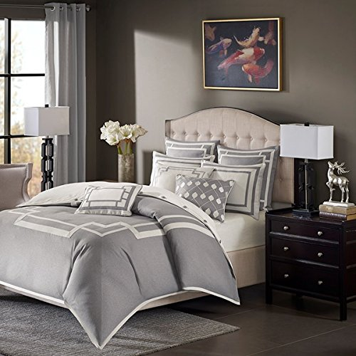 Madison Park MPS10-204 100 Percent Polyester Jacquard Pieced 9 Piece Comforter Set44; Grey - King ()